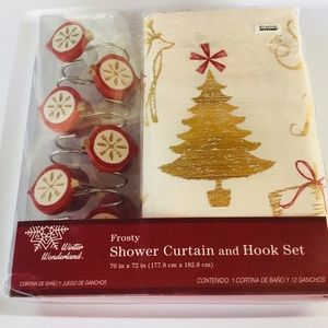 Bed Bath And Beyond Christmas Eve Hours.Frosty Holiday Shower Curtain And Hooks Set Nwt